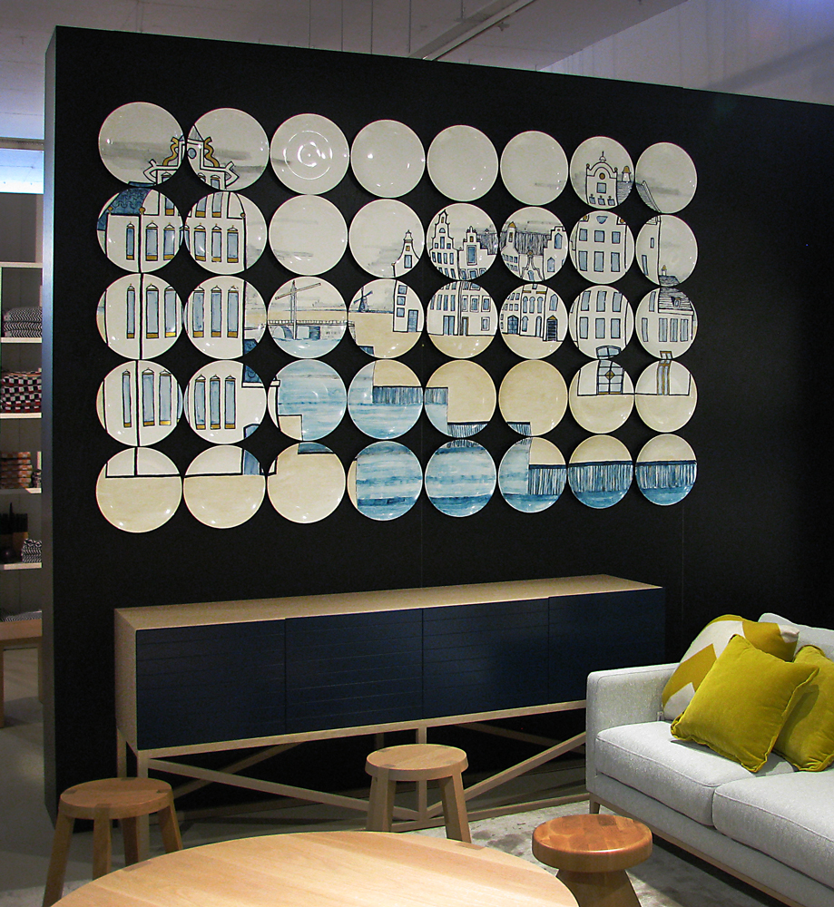 hang ceramic plates, picture wall of plates, plates art wall, Zuster Furniture