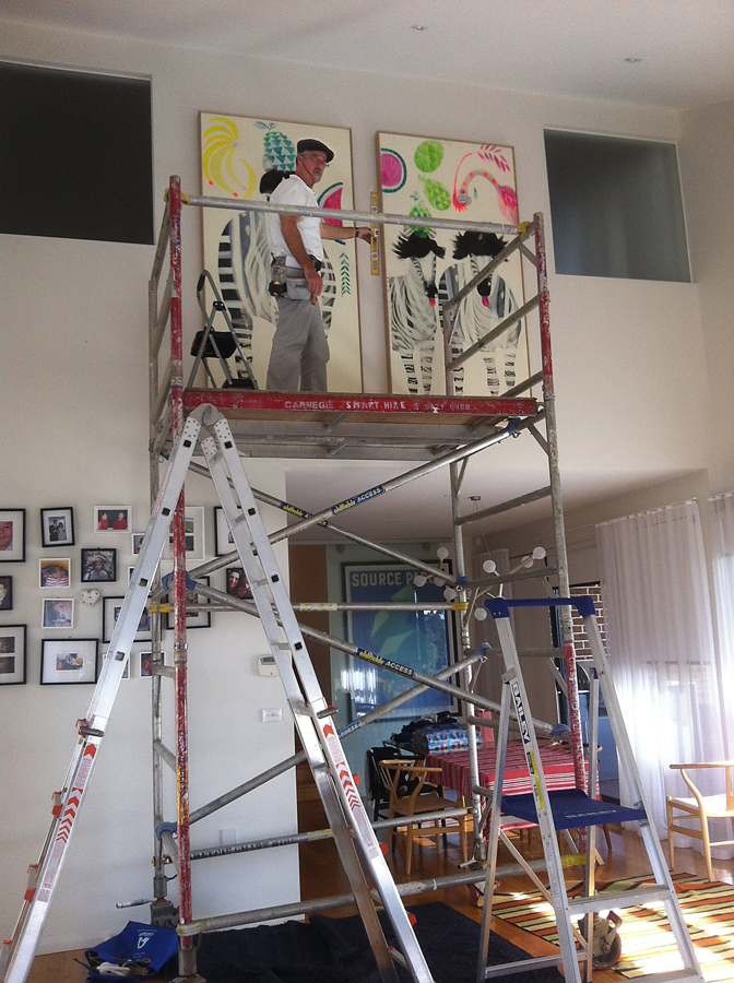 Scaffold for hanging high paintings, hang art above an archway, Jessie Breakwell fine art