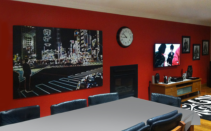 art wall, grouped paintings, phil kininmonth painting arrangement, arts cape, art feature wall