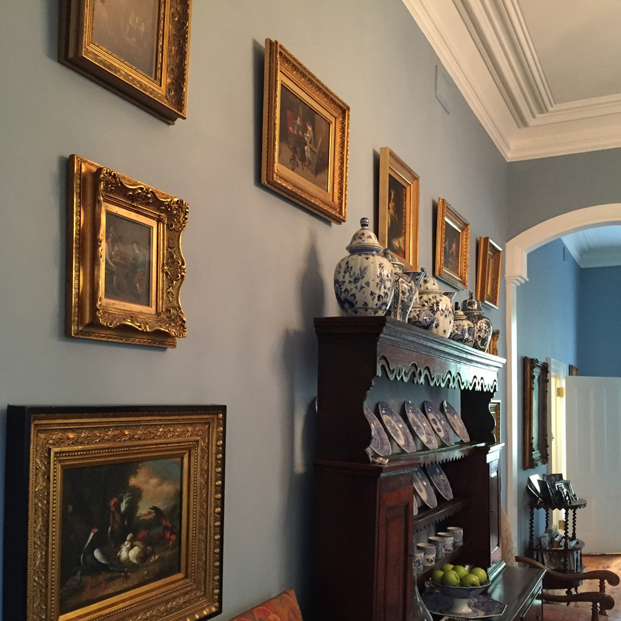 hanging gilt frames, drawing room art hanging, picture wall