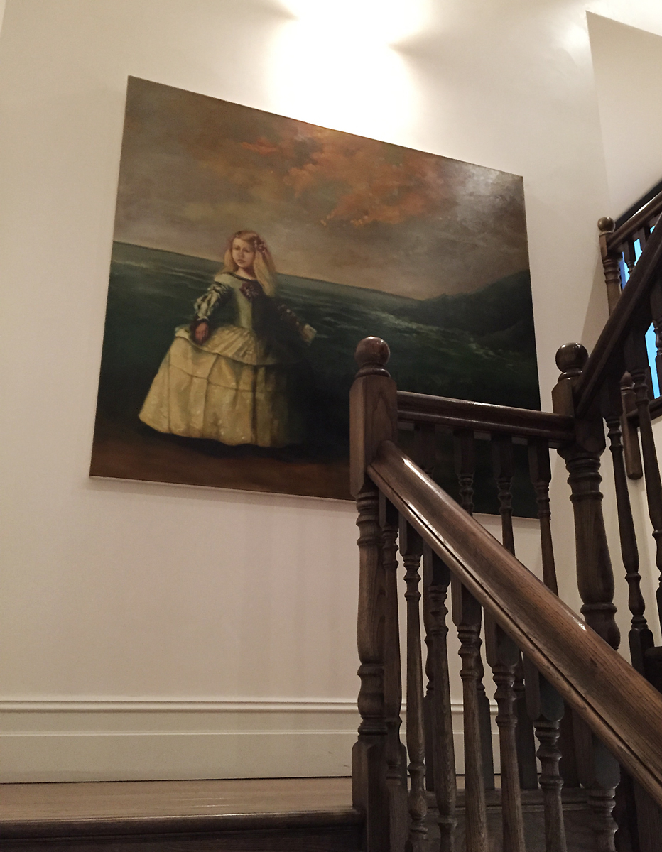 Velasquez princess Louisa, post modern landscape, hang painting in stairwell by Hangin' with Phil