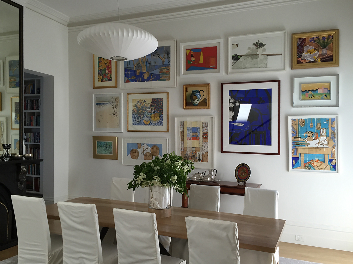 Salon wall, grouped paintings